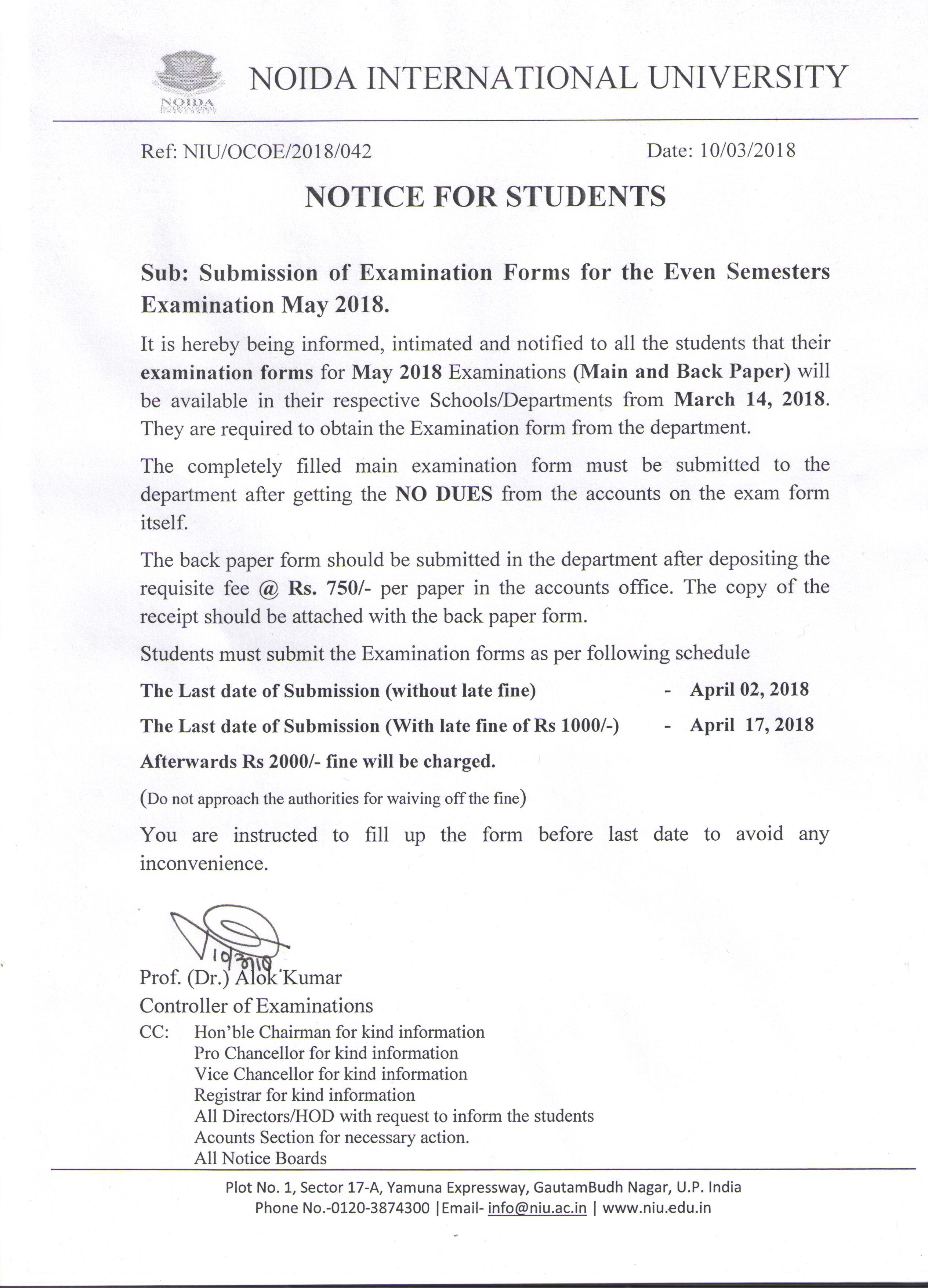 Examinations Schedule – Noida International University